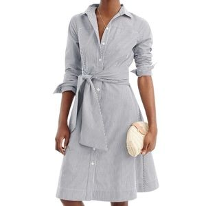 J.Crew Stripe Tie Waist Shirt Dress | Size 8